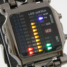 Cool Black Alloy Rubber Casual Type LED Digital Wrist Watch Mens Watch Bangle