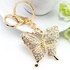 Rhinestone Crystal Butterfly Keychain Women Gold Charm Keyring Handbag Jewelry