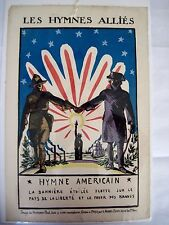 """RARE 1900's poster """"Les Hymnes Allies"""" by Hermann Paul French Illustrator *"""