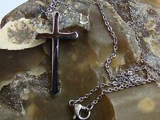 Delicate Womens Simple Stainless Steel Silver Pendant Cross  33x18x3mm Necklace