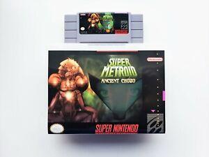 Super Metroid Ancient Chozo Game / Case - Fan Made SNES Super Nintendo (USA)