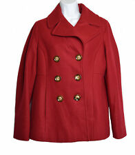 Womens Michael Kors Red Wool Blend Pea Coat Double Breasted Lined Size M NWOT