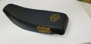 Suzuki LT 125 185 black gripper seat cover with logo&1/4 inch foam sewn in
