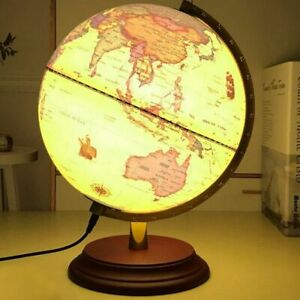 Retro Earth Globe Luminescence World Ocean Map Ball Kids Geography Learning 25cm