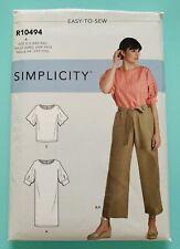 New Simplicity Pattern Misses Dress Tops & Pant w/ Tie S9116 R10494 SZ XXS-XXL