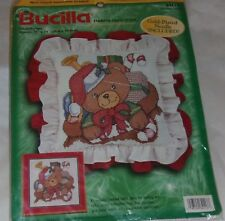 Bucilla Holiday Christmas Kit TEDDY BEAR Pillow Cover Stamped Cross Stitch 84113