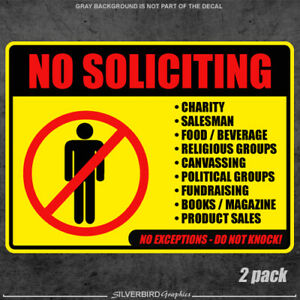 2x No Soliciting sticker / window / vinyl / label / decal / home / knocking