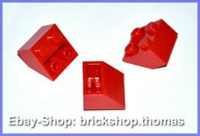 Lego 3 x Schrägstein negativ rot 2x2 - 3660 - Slope Inverted Red - NEU / NEW