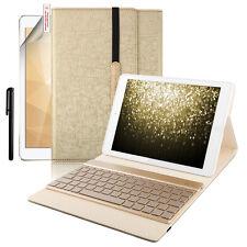 """Retroiluminada de Color fino 7 inalámbrico teclado cuero caso Kit para iPad 9.7"""""""