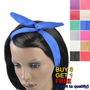 Plain Wire Headband Retro 50s Hair Scarf Bandy Head Wrap - Easy to Wear