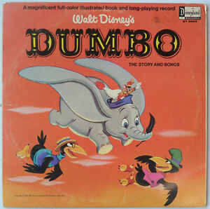 Walt Disney's Dumbo – 1965 vinyl record album with 11 pages of illustrations