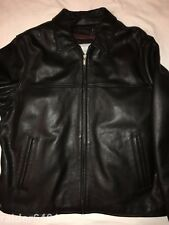 WILSONS LEATHER M Julian Mens Black Motorcycle Jacket With Quilt Lining XL EUC