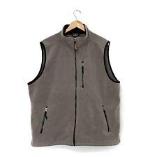 LL Bean Fleece Vest Mens XL Tall Full Zip Zippered Pockets Taupe Cinch Hem Coat