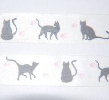 Japanese WASHI Tape ~ 7m x 15mm ~ Black CATS silhouette  ~ embellishment
