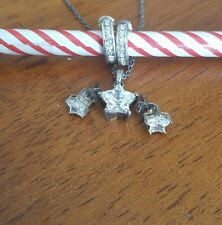 Sterling Silver Crystal Star Pendant Chain Necklace, Earrings