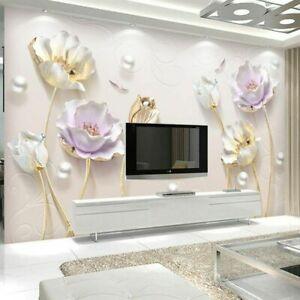 3D Tulip Floral Bling Modern Wall Mural Wallpaper Living Room Bedroom Lounge