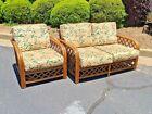 Vintage PACIFIC RATTAN Loveseat & Lounge Chair MCM Bentwood Bamboo Tiki Set (2)