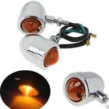 Universal Chrome Motorcycle Rear Front Turn Signals Light Amber Indicator Bullet