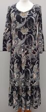 Kim & Co Brazil Knit Epic Paisley Frilled Midi Dress Size Small - Black Paisley