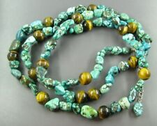 STERLING SILVER Beaded Necklace TURQUOISE BLUE DYED Howlite & TIGER'S EYE BEADS