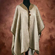 Sumptuous Taupe Alpaca Poncho With Certificate Of Authenticity New