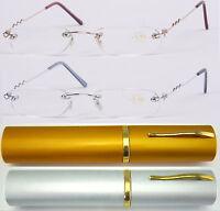 L64 Superb Quality Rimless Slim Reading Glasses Flexible steel arm+Aluminum Case