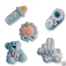 BLUE ICED BABY BOY CHRISTENING BABY SHOWER CUPCAKE TOPPERS CAKE DECORATIONS
