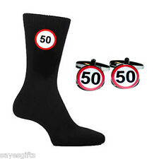 50 MPH Speed Sign Printed Design Mens Black Socks & Cufflinks 50th Birthday Gift