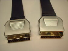 Flat Scart Cable Lead Gold Plated OFC Metal Case 1.5m