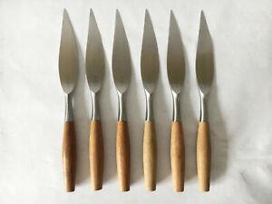 "6 Dansk FJORD Teak Wood Handle Stainless GERMANY Flatware 8 3/8"" STEAK KNIVES ex"
