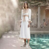 PF372019 Womens Runway Designer Inspired Luxury Cotton Linen Flare Sleeve Dress