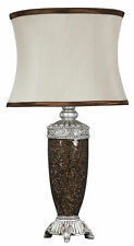 Copper Sparkle Mosaic Antique Silver Regency Lamp With Chocolate Trimmed Shade
