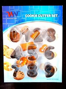 10PC NUMBERS COOKIE CUTTER SET - KITCHEN KIDS LEARNING STAINLESS STEEL FUN