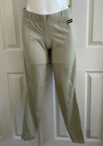 KERRITS Riding Tights Leggings Breeches Pull On Equestrian Knee Patch Beige XL