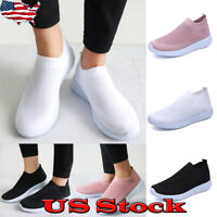 Fashion Women Air Cushion Sneakers Breathable Mesh Walking Slip-On Running Shoes