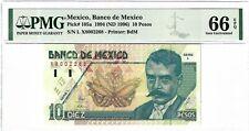 P-105a 1994 10 Pesos, Mexico, Banco de Mexico, PMG 66EPQ GEM +