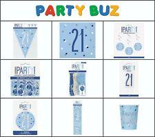 *NEW BLUE GLITZ* Age 21- Happy 21st Birthday - Party Supplies Decorations