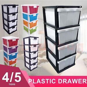 4 5 Tier Drawer Storage Organiser Plastic level Office Box Cabinet Coloured
