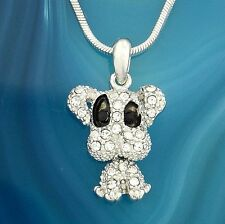 "DOG W Swarovski Crystal Puppy Pet Doggie Movable Pendant Necklace Gift 18"" Chain"
