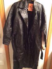 Dakota NWT Women's Long Black Leather Patchwork Trenchcoat Jacket Size M