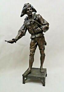 Antique Emile Louis Picault Signed French Bronze Sculpture - Minstrel w/ Violin