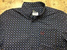Mens Fred Perry Drakes Original Archive Print  Navy L/sleeve Shirt Size S Vgc M1