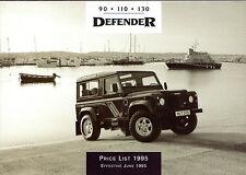 Land Rover Defender Prices & Options 1995 UK Market Foldout Brochure 90 110