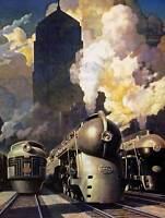 PAINTING LANDSCAPE RAILWAY ENGINE TRAIN NEW YORK CENTRAL FINE ART PRINT CC1220