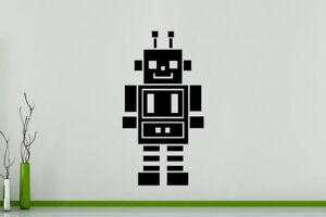 Robot Cartoon Máquina Infantil Pared Dormitorio Arte Pegatina Imagen Póster
