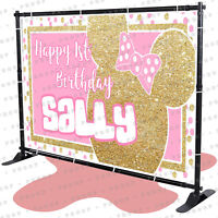 Minnie Mouse Personalized birthday banner backdrop party decoration kid
