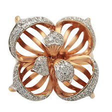 Wide 14K Rose Gold Pave Diamond Flower Cocktail Statement Right Hand Ring