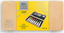 WINSOR & NEWTON ARTIST 15 PC GALERIA ACRYLIC PAINT WOODEN ART BOX SET