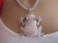 Damen Hals Kette Bettelkette Modekette lang XL Strass Frosch Silber Klar Bling