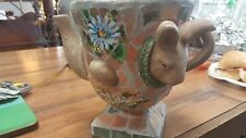 French Country Mosaic Teapot Planter-Rabbit/Bunny Motif-7.5 in High!